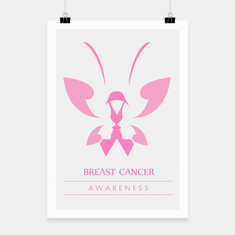 Miniatur Pink ribbon with faces of women and butterfly to symbolize breast cancer awareness month october Poster, Live Heroes
