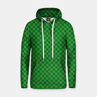 Miniatur Christmas Holly Green and Argyle Tartan Plaid with Crossed White and Red Lines Hoodie, Live Heroes