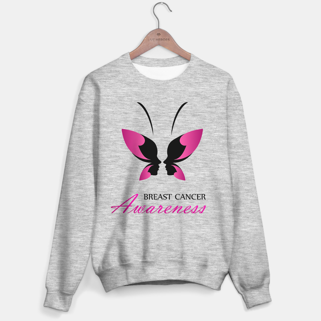 Image of Breast Cancer Awareness with pink butterfly Sweater regular - Live Heroes