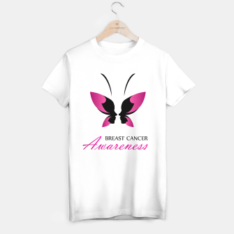 Miniatur Breast Cancer Awareness with pink butterfly T-shirt regular, Live Heroes