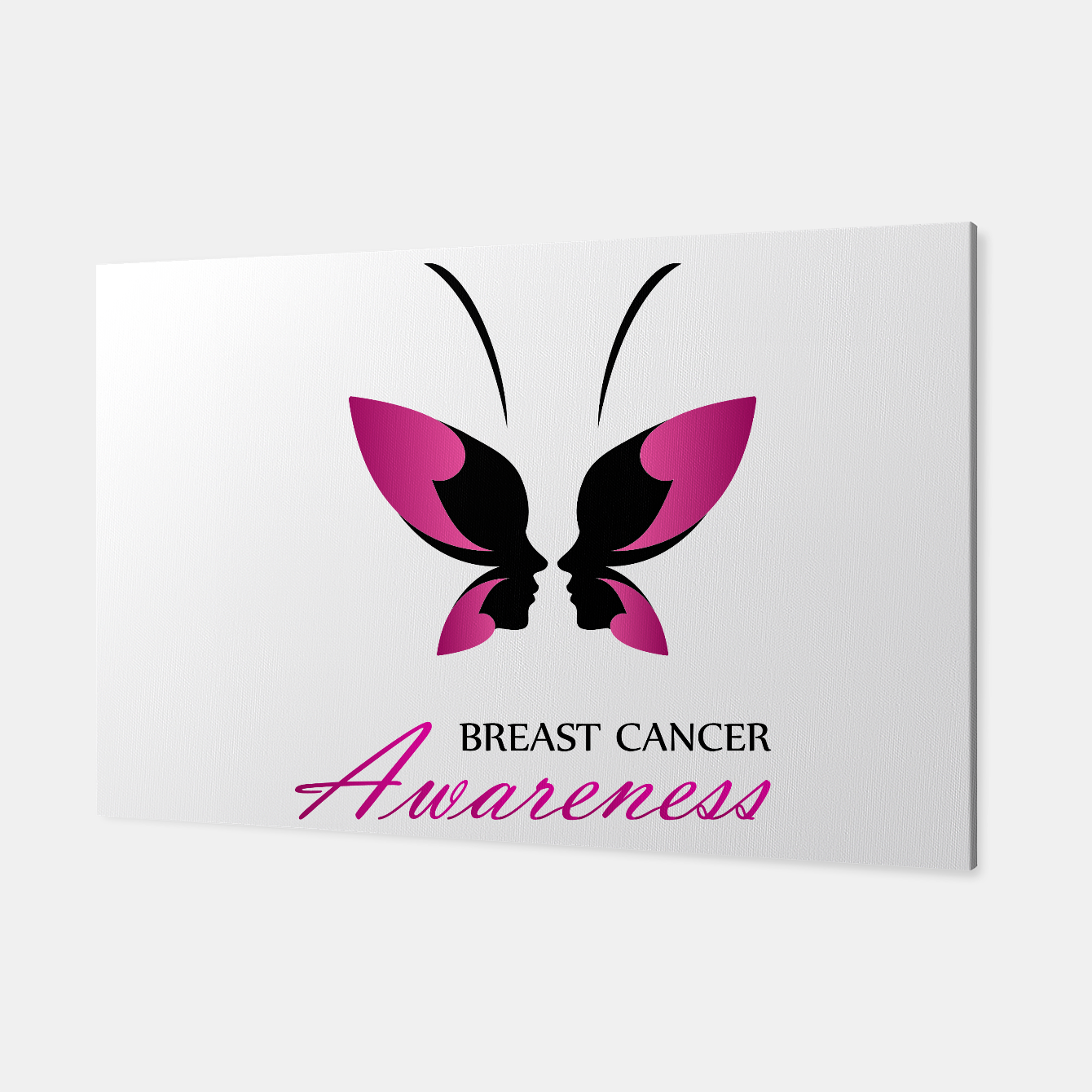 Image of Breast Cancer Awareness with pink butterfly Canvas - Live Heroes