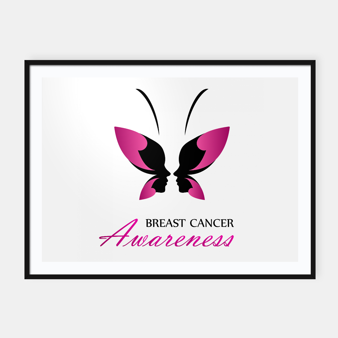 Image of Breast Cancer Awareness with pink butterfly Framed poster - Live Heroes