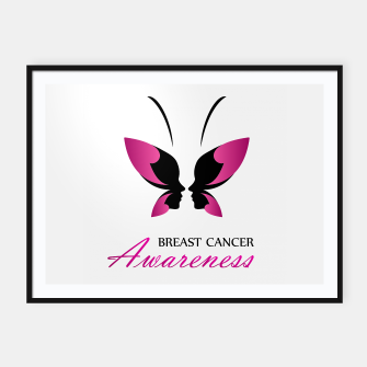 Miniatur Breast Cancer Awareness with pink butterfly Framed poster, Live Heroes
