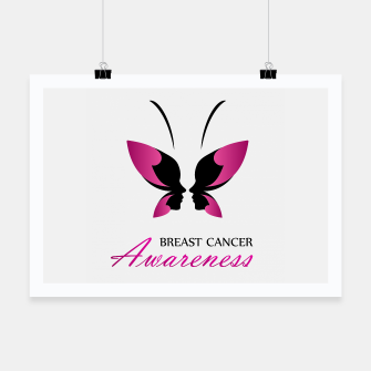 Miniatur Breast Cancer Awareness with pink butterfly Poster, Live Heroes