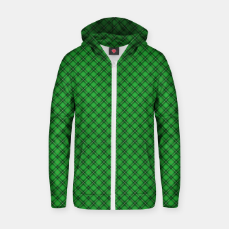 Miniatur Christmas Holly Green and Argyle Tartan Plaid with Crossed White and Red Lines Zip up hoodie, Live Heroes