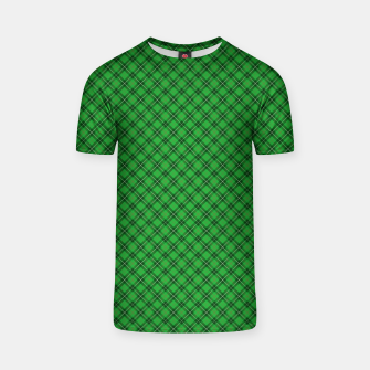 Miniatur Christmas Holly Green and Argyle Tartan Plaid with Crossed White and Red Lines T-shirt, Live Heroes