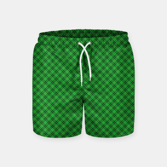 Miniatur Christmas Holly Green and Argyle Tartan Plaid with Crossed White and Red Lines Swim Shorts, Live Heroes