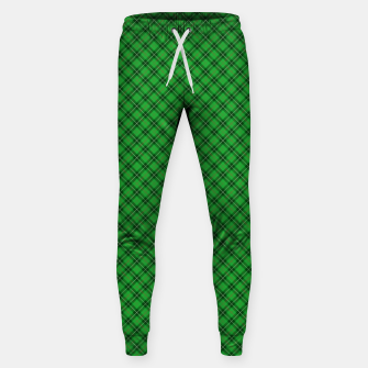 Miniatur Christmas Holly Green and Argyle Tartan Plaid with Crossed White and Red Lines Sweatpants, Live Heroes