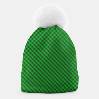 Imagen en miniatura de Christmas Holly Green and Argyle Tartan Plaid with Crossed White and Red Lines Beanie, Live Heroes
