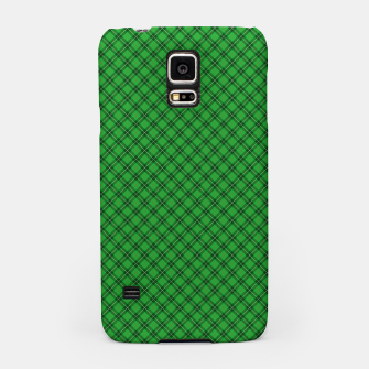 Imagen en miniatura de Christmas Holly Green and Argyle Tartan Plaid with Crossed White and Red Lines Samsung Case, Live Heroes