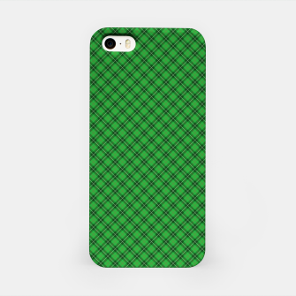Miniatur Christmas Holly Green and Argyle Tartan Plaid with Crossed White and Red Lines iPhone Case, Live Heroes