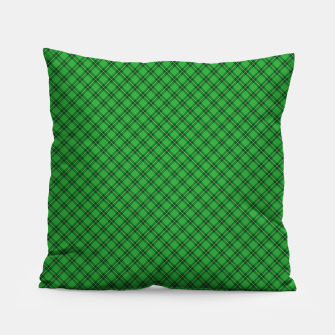 Miniatur Christmas Holly Green and Argyle Tartan Plaid with Crossed White and Red Lines Pillow, Live Heroes