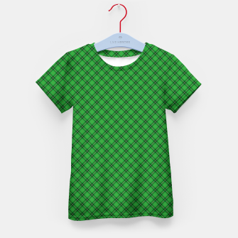 Imagen en miniatura de Christmas Holly Green and Argyle Tartan Plaid with Crossed White and Red Lines Kid's t-shirt, Live Heroes