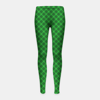 Miniatur Christmas Holly Green and Argyle Tartan Plaid with Crossed White and Red Lines Girl's leggings, Live Heroes