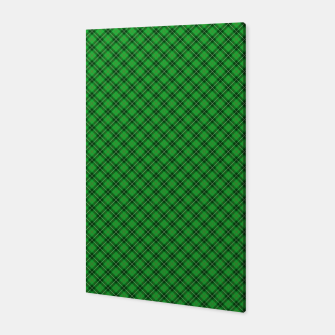 Miniatur Christmas Holly Green and Argyle Tartan Plaid with Crossed White and Red Lines Canvas, Live Heroes