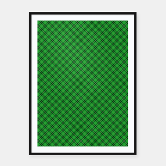 Imagen en miniatura de Christmas Holly Green and Argyle Tartan Plaid with Crossed White and Red Lines Framed poster, Live Heroes