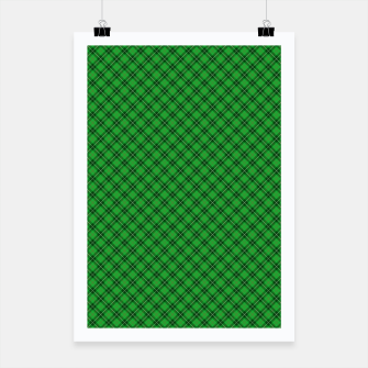 Miniatur Christmas Holly Green and Argyle Tartan Plaid with Crossed White and Red Lines Poster, Live Heroes