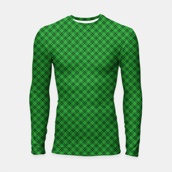 Miniatur Christmas Holly Green and Argyle Tartan Plaid with Crossed White and Red Lines Longsleeve rashguard , Live Heroes