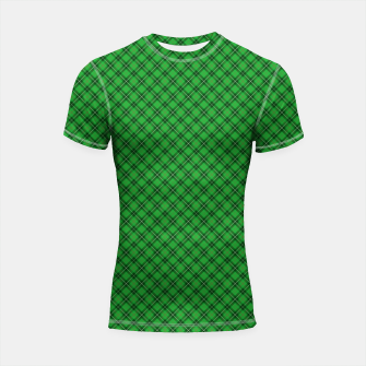 Imagen en miniatura de Christmas Holly Green and Argyle Tartan Plaid with Crossed White and Red Lines Shortsleeve rashguard, Live Heroes