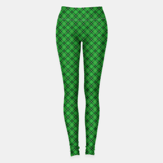 Imagen en miniatura de Christmas Holly Green and Argyle Tartan Plaid with Crossed White and Red Lines Leggings, Live Heroes