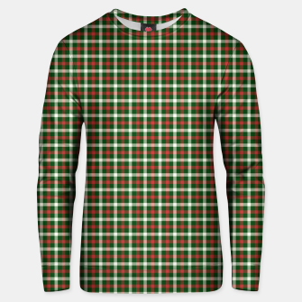 Christmas Holly Green and Red Tartan Check with Wide White Lines Unisex sweater imagen en miniatura