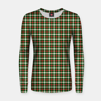 Christmas Holly Green and Red Tartan Check with Wide White Lines Women sweater imagen en miniatura