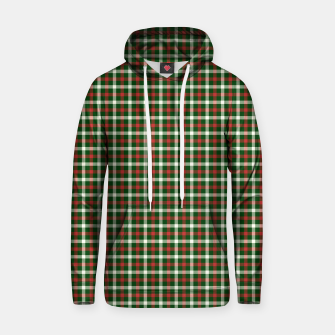 Christmas Holly Green and Red Tartan Check with Wide White Lines Hoodie imagen en miniatura