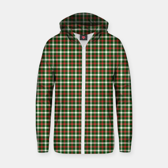 Christmas Holly Green and Red Tartan Check with Wide White Lines Zip up hoodie imagen en miniatura