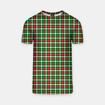 Christmas Holly Green and Red Tartan Check with Wide White Lines T-shirt imagen en miniatura