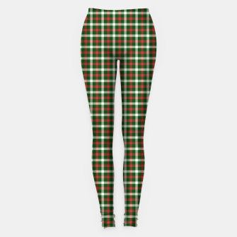Christmas Holly Green and Red Tartan Check with Wide White Lines Leggings imagen en miniatura