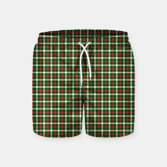 Christmas Holly Green and Red Tartan Check with Wide White Lines Swim Shorts imagen en miniatura