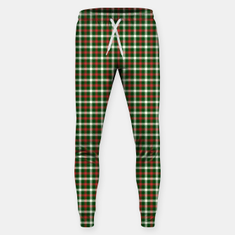 Christmas Holly Green and Red Tartan Check with Wide White Lines Sweatpants imagen en miniatura
