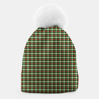 Christmas Holly Green and Red Tartan Check with Wide White Lines Beanie imagen en miniatura