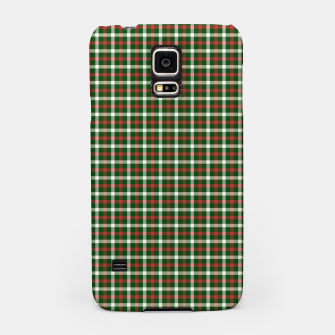 Christmas Holly Green and Red Tartan Check with Wide White Lines Samsung Case imagen en miniatura