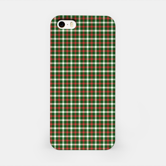Christmas Holly Green and Red Tartan Check with Wide White Lines iPhone Case imagen en miniatura