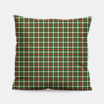 Christmas Holly Green and Red Tartan Check with Wide White Lines Pillow imagen en miniatura