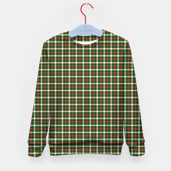 Christmas Holly Green and Red Tartan Check with Wide White Lines Kid's sweater imagen en miniatura