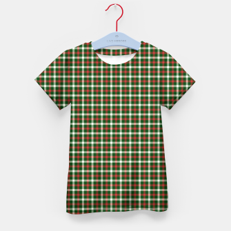 Christmas Holly Green and Red Tartan Check with Wide White Lines Kid's t-shirt imagen en miniatura