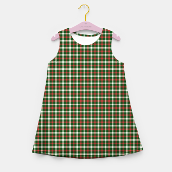 Christmas Holly Green and Red Tartan Check with Wide White Lines Girl's summer dress imagen en miniatura