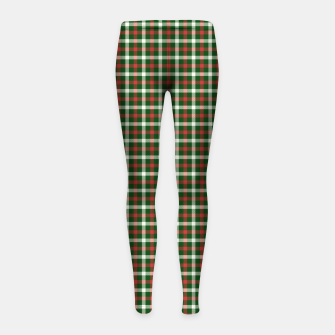 Imagen en miniatura de Christmas Holly Green and Red Tartan Check with Wide White Lines Girl's leggings, Live Heroes