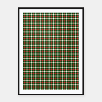 Imagen en miniatura de Christmas Holly Green and Red Tartan Check with Wide White Lines Framed poster, Live Heroes