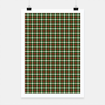 Miniatur Christmas Holly Green and Red Tartan Check with Wide White Lines Poster, Live Heroes