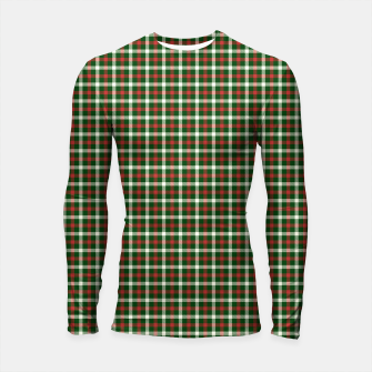 Imagen en miniatura de Christmas Holly Green and Red Tartan Check with Wide White Lines Longsleeve rashguard , Live Heroes