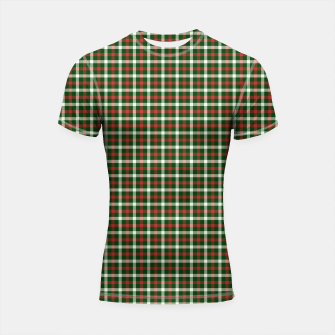 Imagen en miniatura de Christmas Holly Green and Red Tartan Check with Wide White Lines Shortsleeve rashguard, Live Heroes