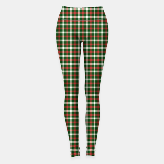 Imagen en miniatura de Christmas Holly Green and Red Tartan Check with Wide White Lines Leggings, Live Heroes