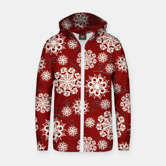 Thumbnail image of Snowflakes On Red Zip up hoodie, Live Heroes