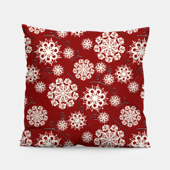 Thumbnail image of Snowflakes On Red Pillow, Live Heroes