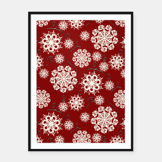 Thumbnail image of Snowflakes On Red Framed poster, Live Heroes
