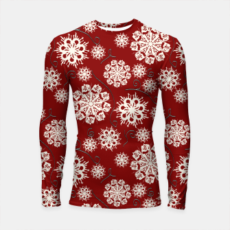 Thumbnail image of Snowflakes On Red Longsleeve rashguard , Live Heroes
