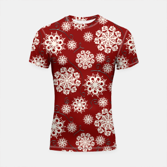 Thumbnail image of Snowflakes On Red Shortsleeve rashguard, Live Heroes